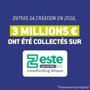 3 millions d'euros collectés sur zeste par la Nef depuis sa création en 2016