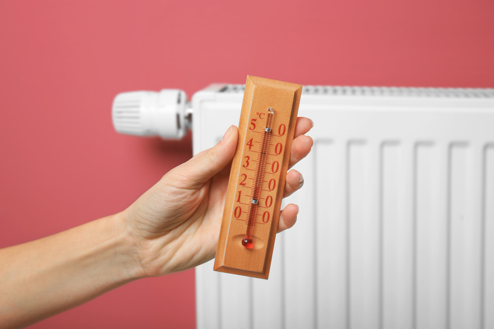 female-hand-holding-thermometer-near-heating-battery